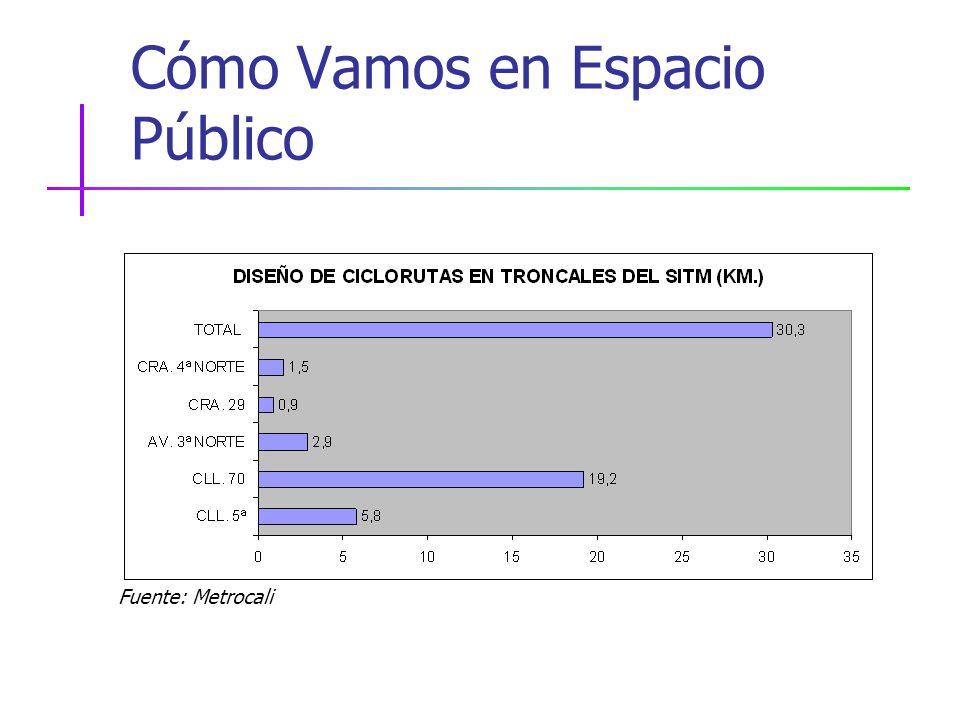 Cómo Vamos en Espacio Público Fuente: Metrocali