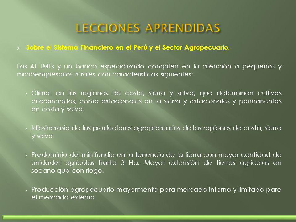 Sobre el Sistema Financiero en el Perú y el Sector Agropecuario. Las 41 IMFs y un banco especializado compiten en la atención a pequeños y microempres