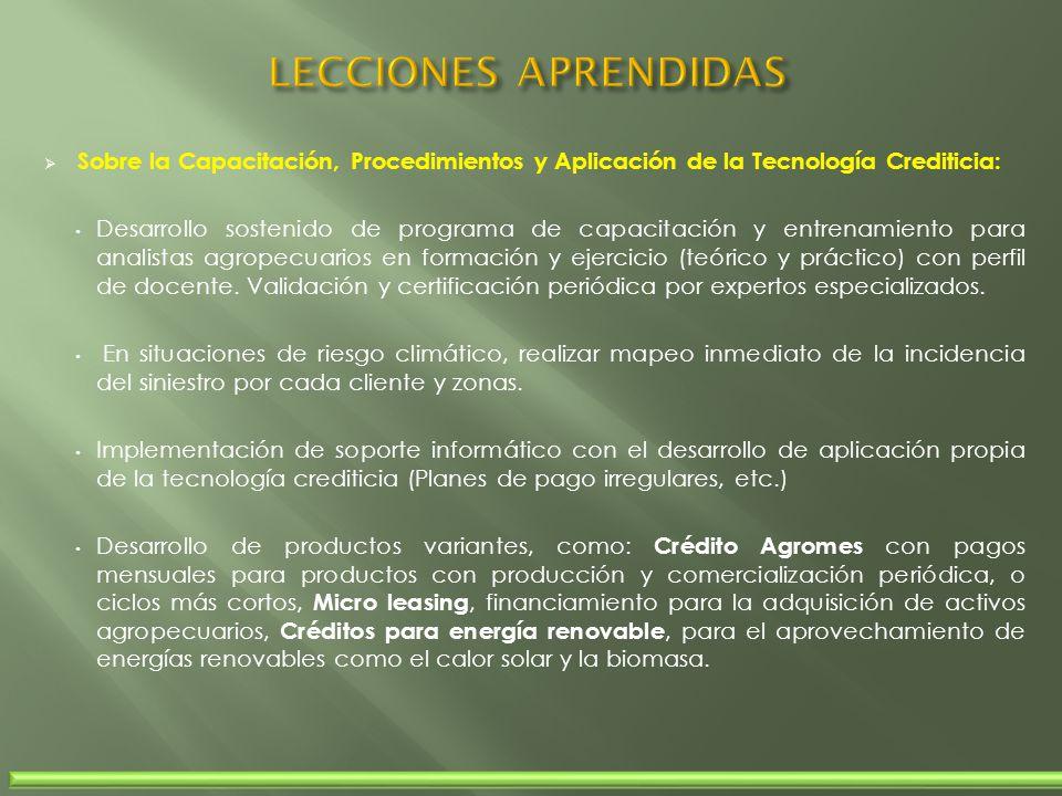 Sobre la Capacitación, Procedimientos y Aplicación de la Tecnología Crediticia: Desarrollo sostenido de programa de capacitación y entrenamiento para