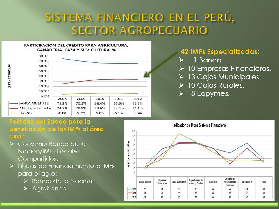 Políticas del Estado para la penetración de las IMFs al área rural: Convenio Banco de la Nación/IMFs Locales Compartidos. Líneas de Financiamiento a I