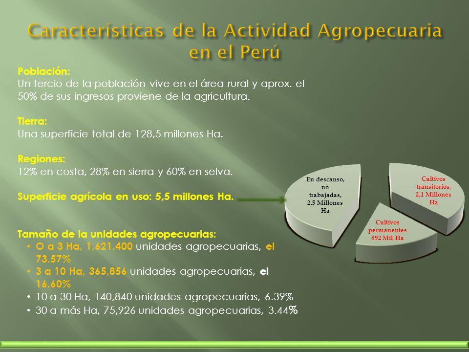 Población: Un tercio de la población vive en el área rural y aprox. el 50% de sus ingresos proviene de la agricultura. Tierra: Una superficie total de