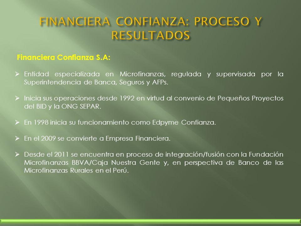 Financiera Confianza S.A: Entidad especializada en Microfinanzas, regulada y supervisada por la Superintendencia de Banca, Seguros y AFPs. Inicia sus