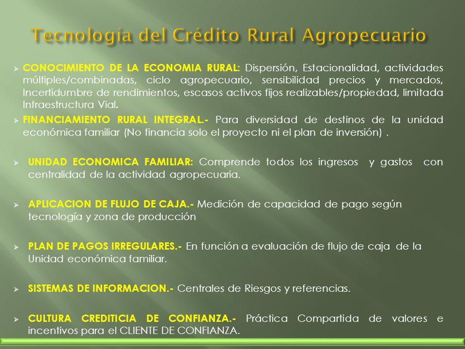 CONOCIMIENTO DE LA ECONOMIA RURAL: Dispersión, Estacionalidad, actividades múltiples/combinadas, ciclo agropecuario, sensibilidad precios y mercados,