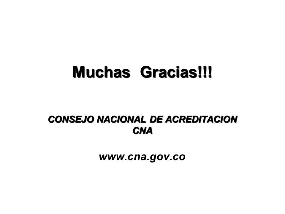 Muchas Gracias!!.CONSEJO NACIONAL DE ACREDITACION CNA Muchas Gracias!!.