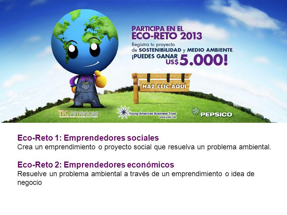 Eco-Reto 1: Emprendedores sociales Crea un emprendimiento o proyecto social que resuelva un problema ambiental.