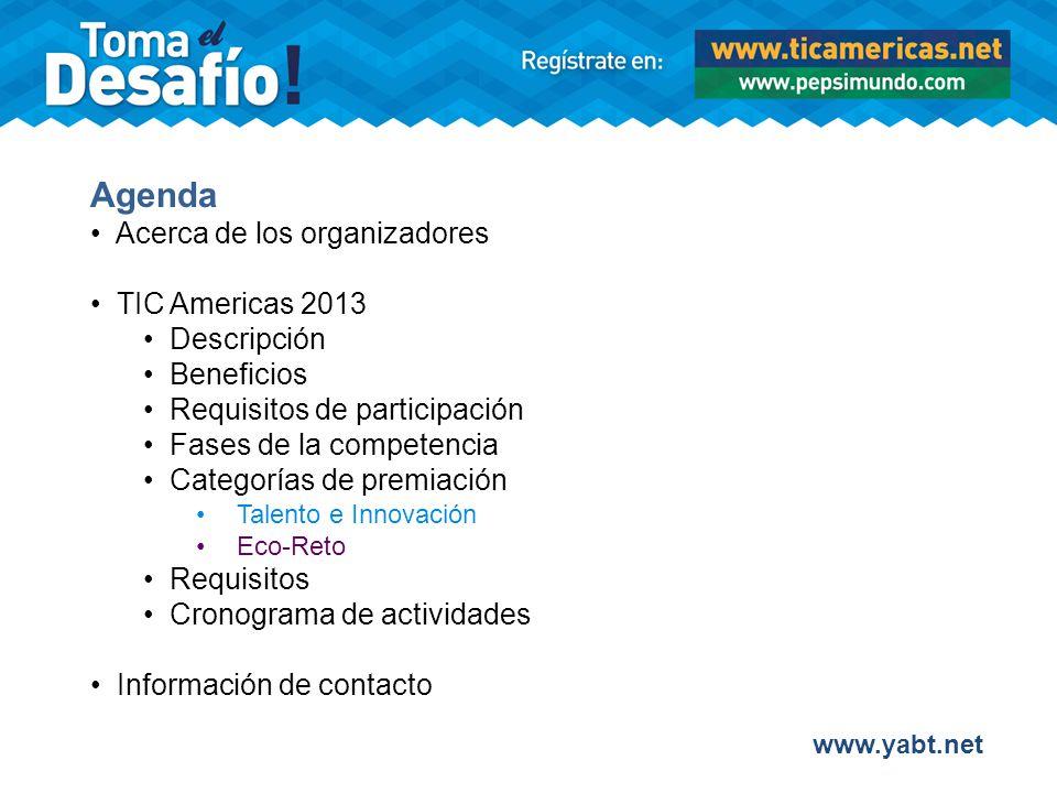 Categorías de Premiación del TIC Americas 2013 2.