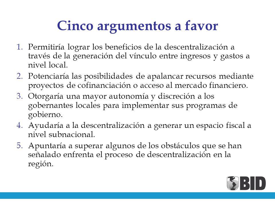 Cinco argumentos a favor 1.Permitiría lograr los beneficios de la descentralización a través de la generación del vínculo entre ingresos y gastos a nivel local.