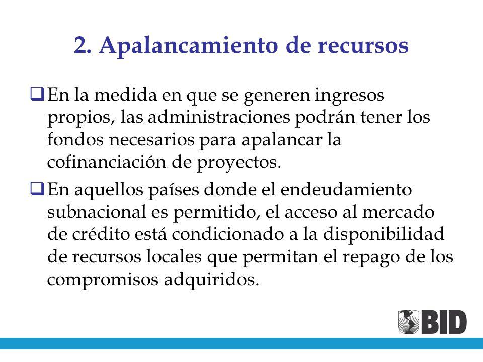 2. Apalancamiento de recursos En la medida en que se generen ingresos propios, las administraciones podrán tener los fondos necesarios para apalancar