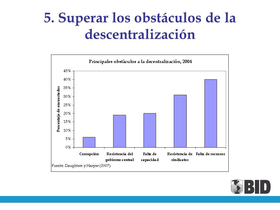 5. Superar los obstáculos de la descentralización