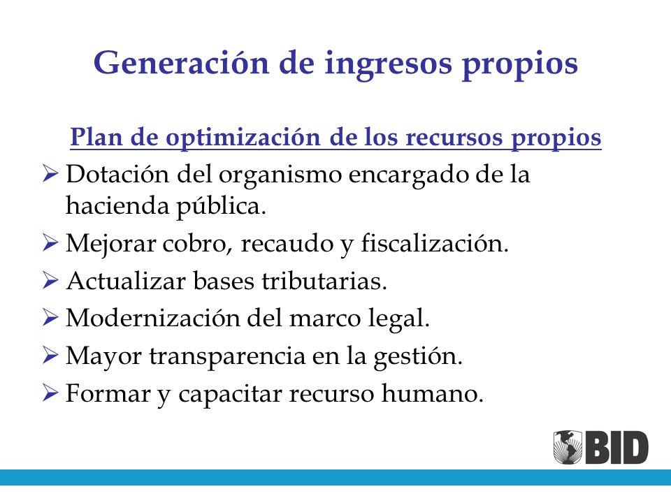 Generación de ingresos propios Plan de optimización de los recursos propios Dotación del organismo encargado de la hacienda pública.