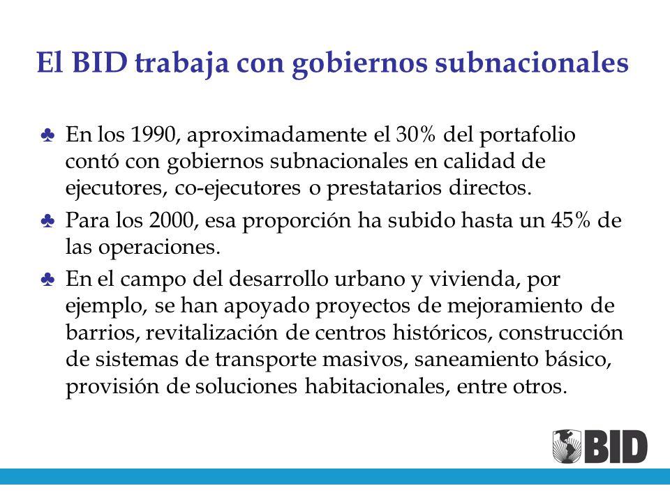 El BID trabaja con gobiernos subnacionales En los 1990, aproximadamente el 30% del portafolio contó con gobiernos subnacionales en calidad de ejecutores, co-ejecutores o prestatarios directos.