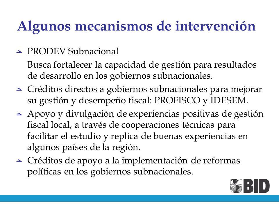 Algunos mecanismos de intervención PRODEV Subnacional Busca fortalecer la capacidad de gestión para resultados de desarrollo en los gobiernos subnacionales.