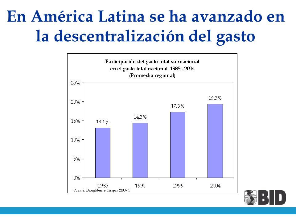 En América Latina se ha avanzado en la descentralización del gasto