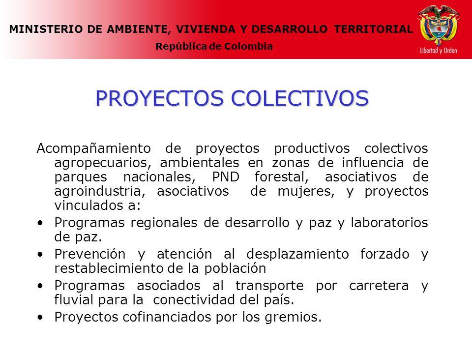 MINISTERIO DE AMBIENTE, VIVIENDA Y DESARROLLO TERRITORIAL República de Colombia PROYECTOS COLECTIVOS Acompañamiento de proyectos productivos colectivos agropecuarios, ambientales en zonas de influencia de parques nacionales, PND forestal, asociativos de agroindustria, asociativos de mujeres, y proyectos vinculados a: Programas regionales de desarrollo y paz y laboratorios de paz.