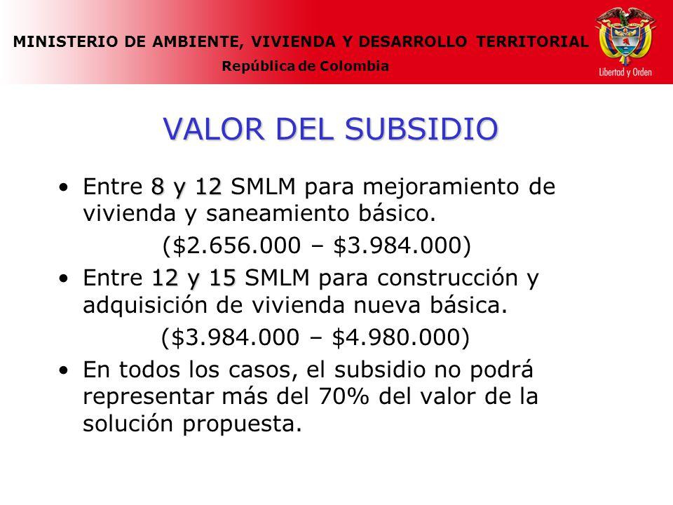 MINISTERIO DE AMBIENTE, VIVIENDA Y DESARROLLO TERRITORIAL República de Colombia VALOR DEL SUBSIDIO 8 y 12Entre 8 y 12 SMLM para mejoramiento de vivien