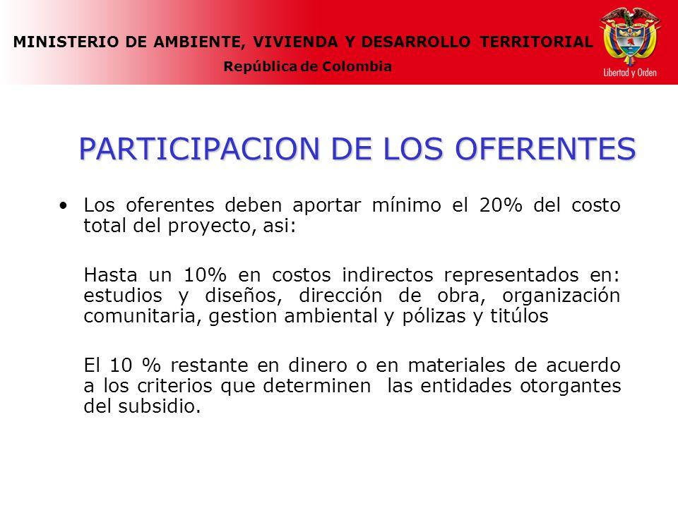 MINISTERIO DE AMBIENTE, VIVIENDA Y DESARROLLO TERRITORIAL República de Colombia PARTICIPACION DE LOS OFERENTES Los oferentes deben aportar mínimo el 2