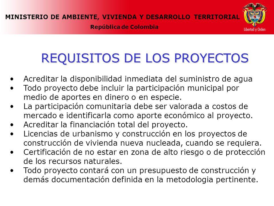 MINISTERIO DE AMBIENTE, VIVIENDA Y DESARROLLO TERRITORIAL República de Colombia REQUISITOS DE LOS PROYECTOS Acreditar la disponibilidad inmediata del