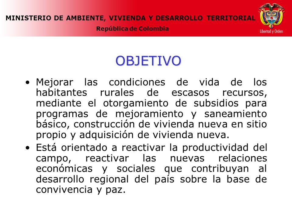 MINISTERIO DE AMBIENTE, VIVIENDA Y DESARROLLO TERRITORIAL República de Colombia OBJETIVO Mejorar las condiciones de vida de los habitantes rurales de