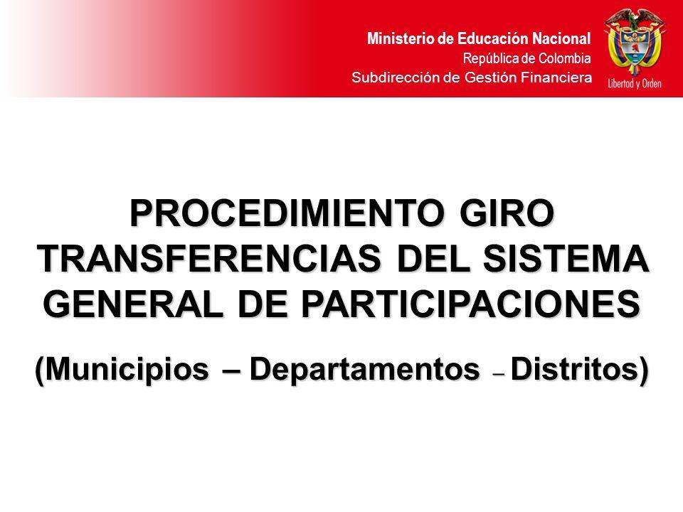 Ministerio de Educación Nacional República de Colombia INSTRUCTIVO DE PAGO MES DE JUNIO VIGENCIA 2006 MUNICIPIO CERTIFICADO DE BUCARAMANGA TOTAL GIRADO ($8.150.831.597) ENTIDAD TERRITORIAL 1.