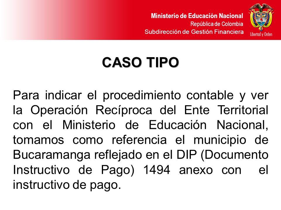 Ministerio de Educación Nacional República de Colombia Subdirección de Gestión Financiera CASO TIPO Para indicar el procedimiento contable y ver la Op