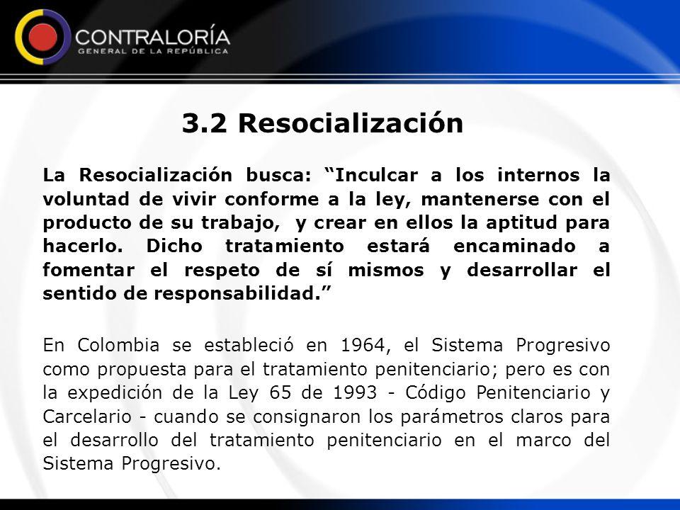 3.2 Resocialización La Resocialización busca: Inculcar a los internos la voluntad de vivir conforme a la ley, mantenerse con el producto de su trabajo