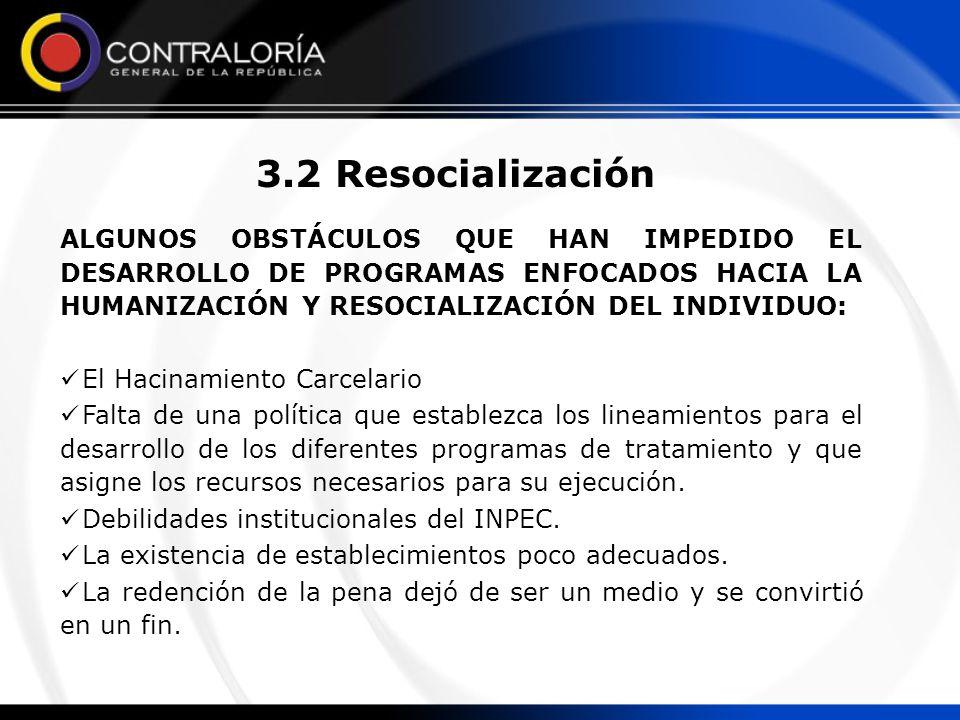 3.2 Resocialización ALGUNOS OBSTÁCULOS QUE HAN IMPEDIDO EL DESARROLLO DE PROGRAMAS ENFOCADOS HACIA LA HUMANIZACIÓN Y RESOCIALIZACIÓN DEL INDIVIDUO: El Hacinamiento Carcelario Falta de una política que establezca los lineamientos para el desarrollo de los diferentes programas de tratamiento y que asigne los recursos necesarios para su ejecución.