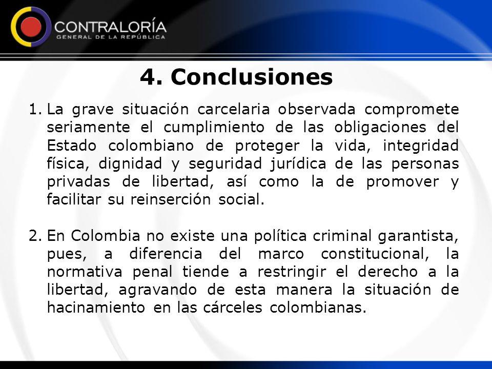 4. Conclusiones 1.La grave situación carcelaria observada compromete seriamente el cumplimiento de las obligaciones del Estado colombiano de proteger