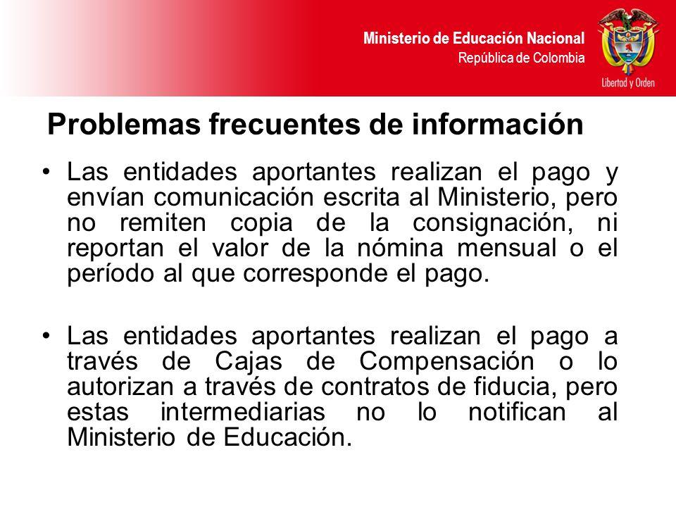 Ministerio de Educación Nacional República de Colombia Problemas frecuentes de información Las entidades aportantes realizan el pago y envían comunica
