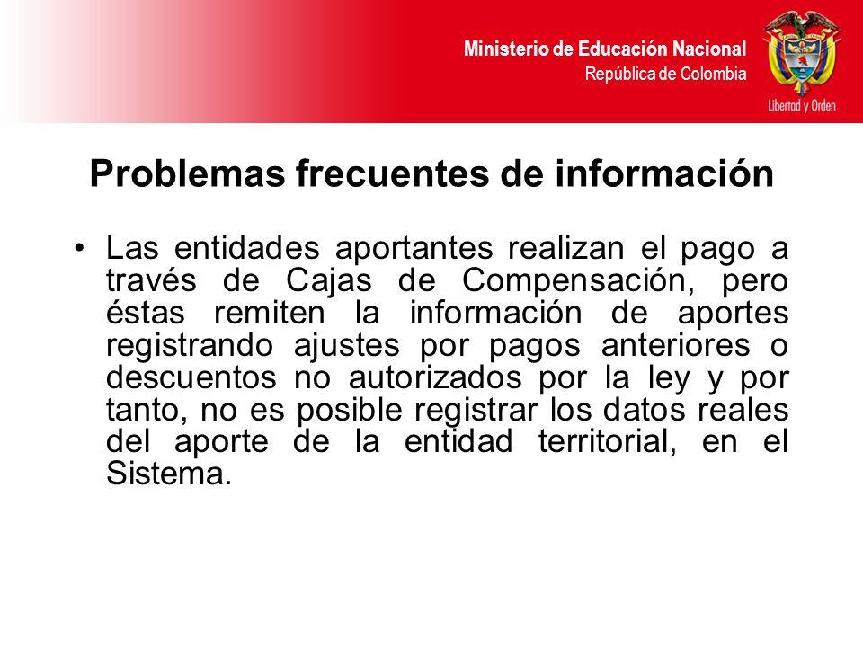 Ministerio de Educación Nacional República de Colombia Problemas frecuentes de información Las entidades aportantes realizan el pago a través de Cajas