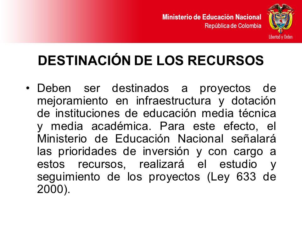 Ministerio de Educación Nacional República de Colombia DESTINACIÓN DE LOS RECURSOS Deben ser destinados a proyectos de mejoramiento en infraestructura