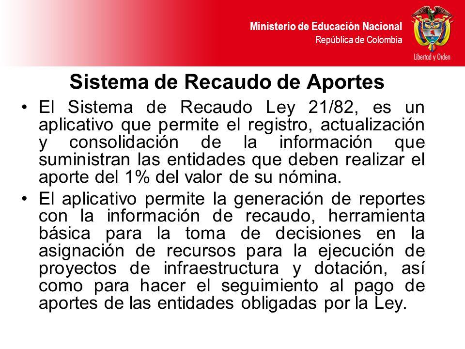Ministerio de Educación Nacional República de Colombia Sistema de Recaudo de Aportes El Sistema de Recaudo Ley 21/82, es un aplicativo que permite el