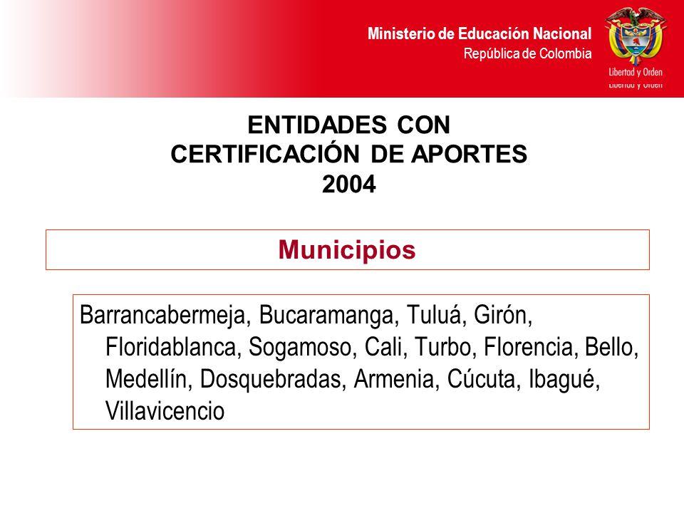 Ministerio de Educación Nacional República de Colombia APORTES LEY 21 ENTIDADES CON CERTIFICACIÓN DE APORTES 2005 Tuluá, Barrancabermeja, Bucaramanga, Cali, Turbo, Floridablanca, Florencia, Medellín, Armenia Municipios