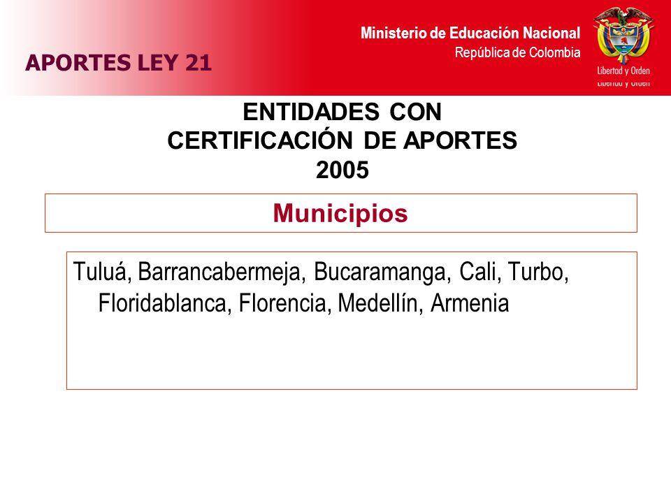 Ministerio de Educación Nacional República de Colombia APORTES LEY 21 ENTIDADES CON CERTIFICACIÓN DE APORTES 2005 Tuluá, Barrancabermeja, Bucaramanga,