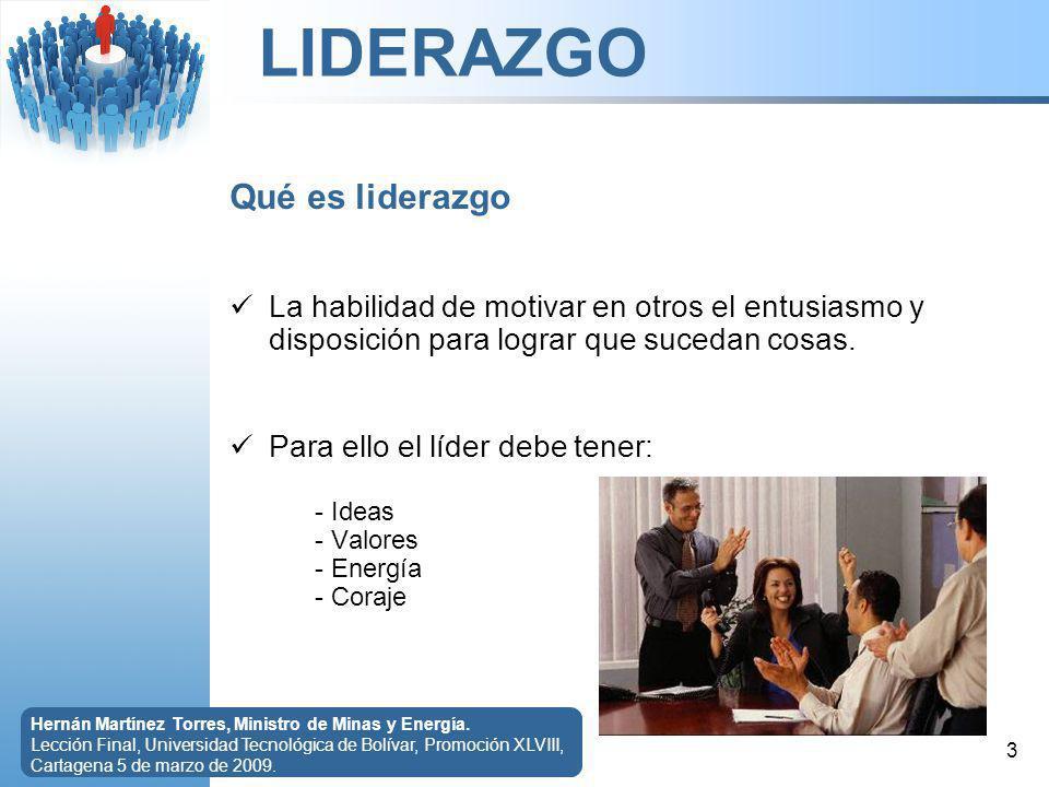 LIDERAZGO 4 Hernán Martínez Torres, Ministro de Minas y Energía.