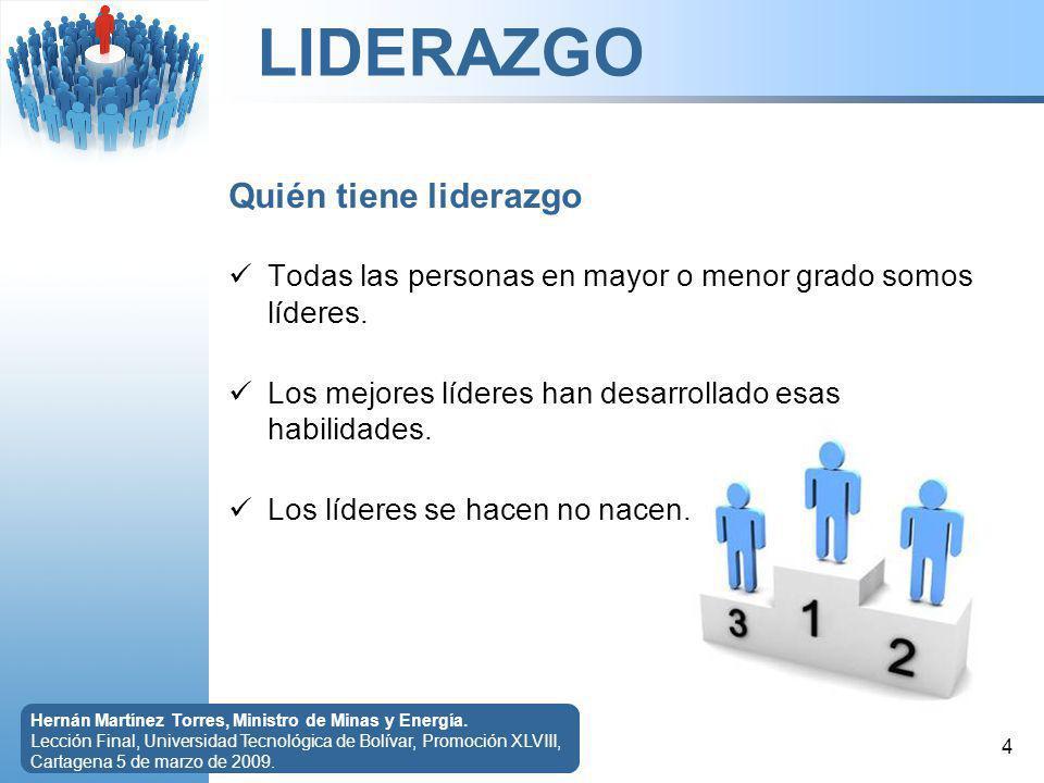 LIDERAZGO 5 Hernán Martínez Torres, Ministro de Minas y Energía.