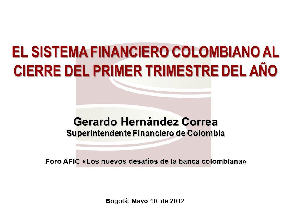 Superfinanciera, Primera en Transparencia 13 Cartera de créditos En el año mas reciente, la cartera de créditos creció 16.01% en términos reales, al ubicar su saldo en $220.21 b en marzo de 2012.