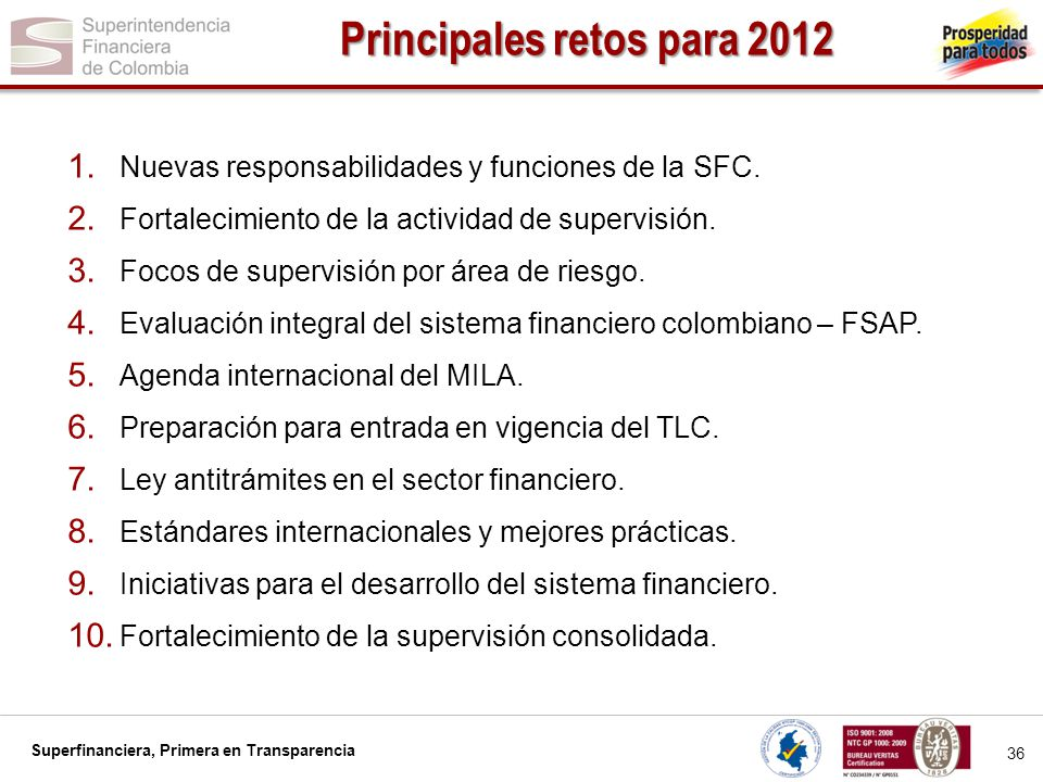 Superfinanciera, Primera en Transparencia 36 Principales retos para 2012 1.