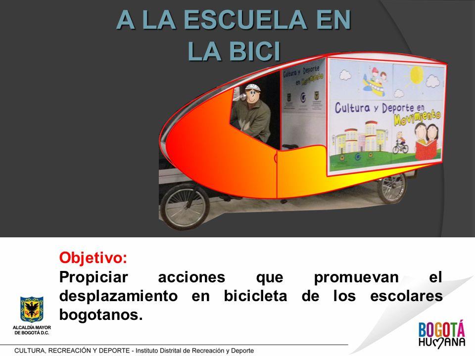 A LA ESCUELA EN LA BICI Objetivo: Propiciar acciones que promuevan el desplazamiento en bicicleta de los escolares bogotanos.
