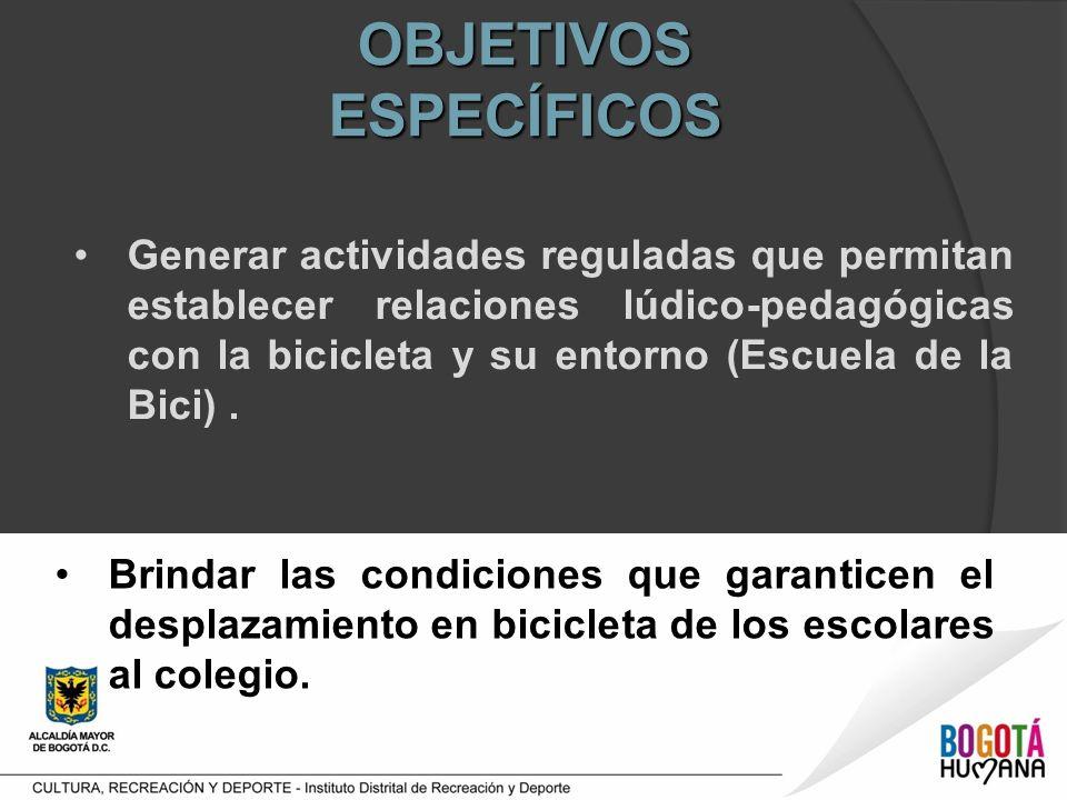 OBJETIVOS ESPECÍFICOS Generar actividades reguladas que permitan establecer relaciones lúdico-pedagógicas con la bicicleta y su entorno (Escuela de la Bici).
