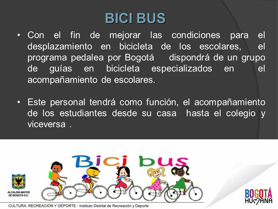 Con el fin de mejorar las condiciones para el desplazamiento en bicicleta de los escolares, el programa pedalea por Bogotá dispondrá de un grupo de guías en bicicleta especializados en el acompañamiento de escolares.
