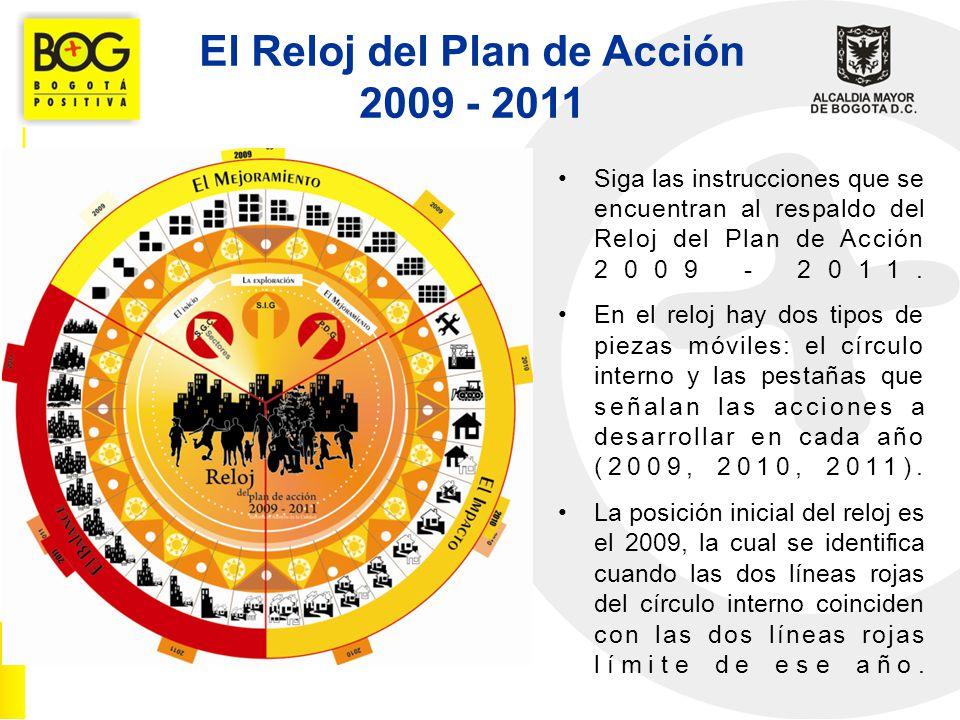 El Reloj del Plan de Acción 2009 - 2011 Cada uno de los años tiene un propósito definido, así: 2009 – El Mejoramiento: Este año se encuentra enfocado a mejorar la gestión de las entidades distritales de conformidad con el numeral 8 de la SGC y el Subsistema de Control de Evaluación del MECI, fundamentalmente en cuanto a eficacia y eficiencia.