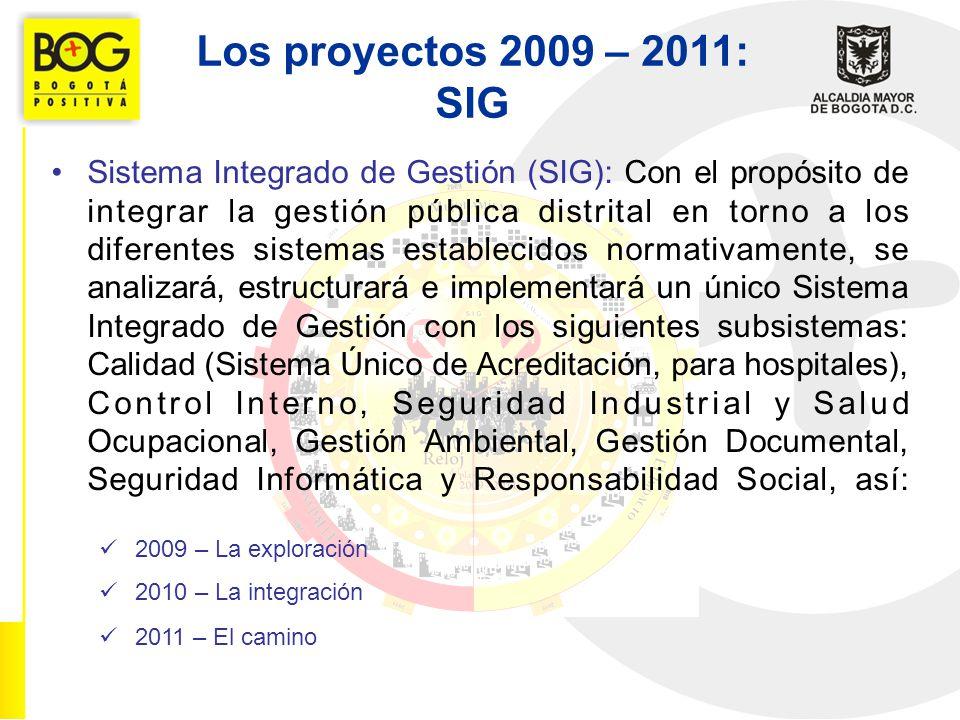 Los proyectos 2009 – 2011: SIG Sistema Integrado de Gestión (SIG): Con el propósito de integrar la gestión pública distrital en torno a los diferentes