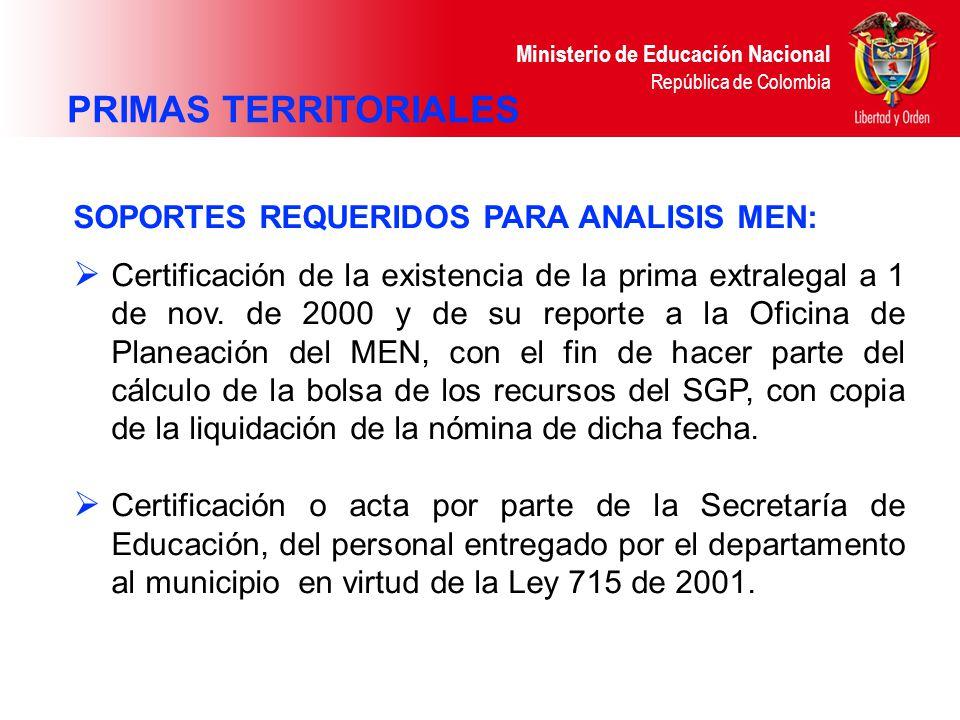 Ministerio de Educación Nacional República de Colombia SOPORTES REQUERIDOS PARA ANALISIS MEN: Certificación de la existencia de la prima extralegal a