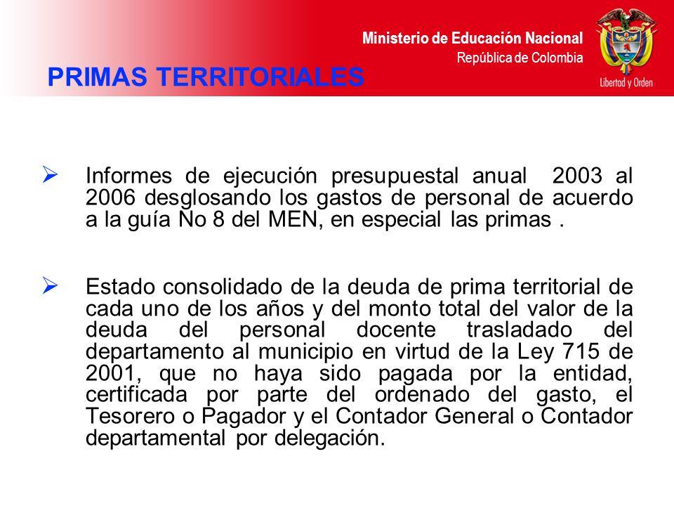 Ministerio de Educación Nacional República de Colombia Informes de ejecución presupuestal anual 2003 al 2006 desglosando los gastos de personal de acu