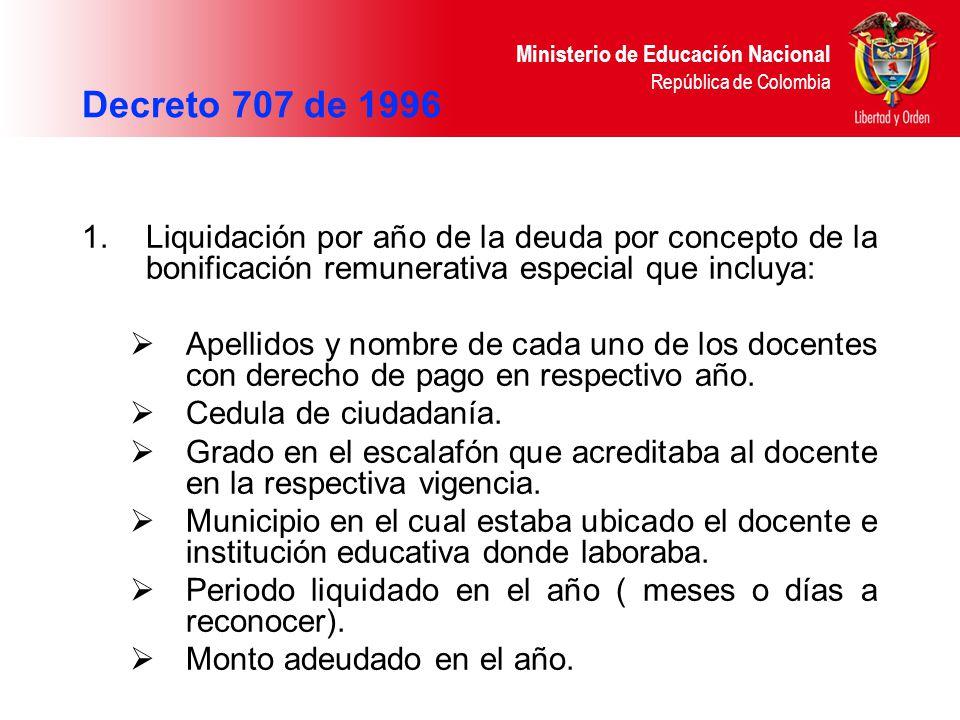 Ministerio de Educación Nacional República de Colombia 1.Liquidación por año de la deuda por concepto de la bonificación remunerativa especial que inc