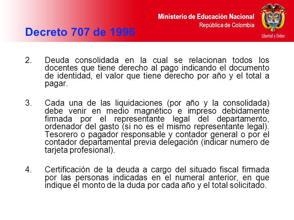 Ministerio de Educación Nacional República de Colombia 2. Deuda consolidada en la cual se relacionan todos los docentes que tiene derecho al pago indi