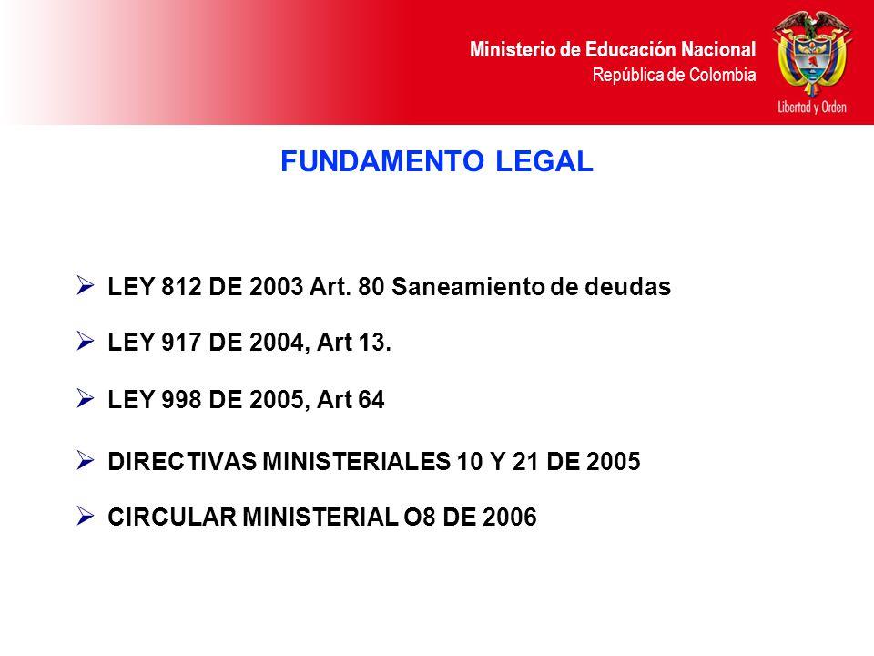 Ministerio de Educación Nacional República de Colombia FUNDAMENTO LEGAL LEY 812 DE 2003 Art. 80 Saneamiento de deudas LEY 917 DE 2004, Art 13. LEY 998