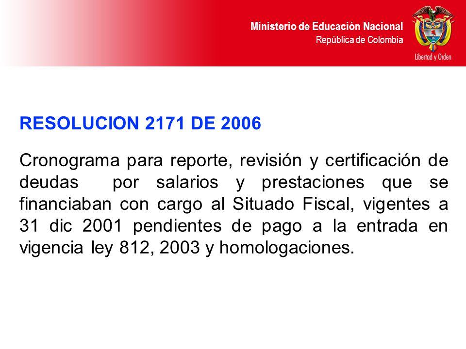 Ministerio de Educación Nacional República de Colombia RESOLUCION 2171 DE 2006 Cronograma para reporte, revisión y certificación de deudas por salario