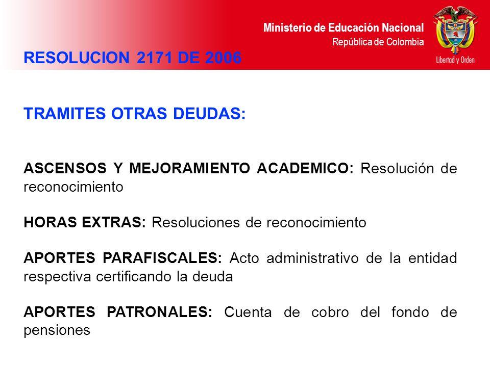 Ministerio de Educación Nacional República de Colombia TRAMITES OTRAS DEUDAS: ASCENSOS Y MEJORAMIENTO ACADEMICO: Resolución de reconocimiento HORAS EX