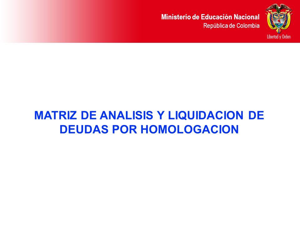 Ministerio de Educación Nacional República de Colombia MATRIZ DE ANALISIS Y LIQUIDACION DE DEUDAS POR HOMOLOGACION